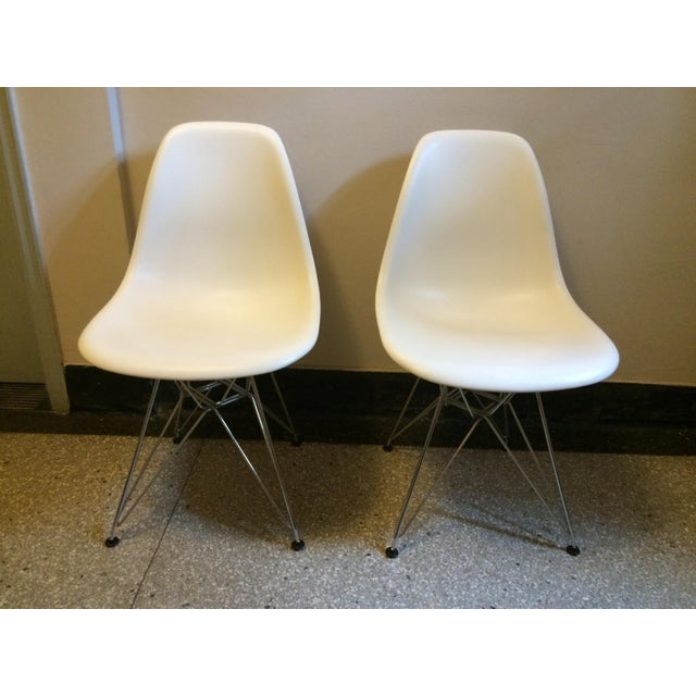 Eames Chrome Eiffel Base Side Chairs - A Pair - Image 2 of 8