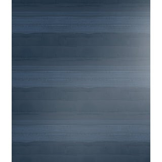 Transitional Strie Stripe Navy Wallpaper For Sale