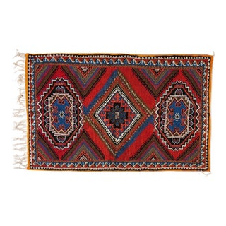 Berber Rug - Medium From Handwoven Wool and Hypnotic Pattern For Sale