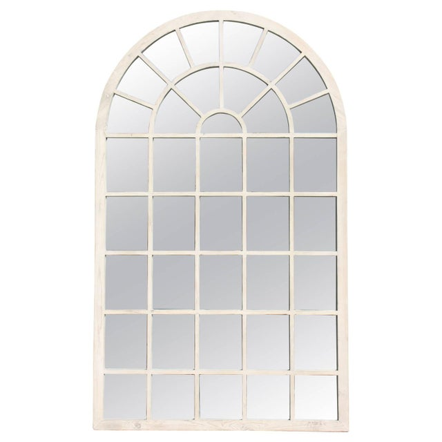 1980s Belgium White Washed Oversized Arch Mirror For Sale