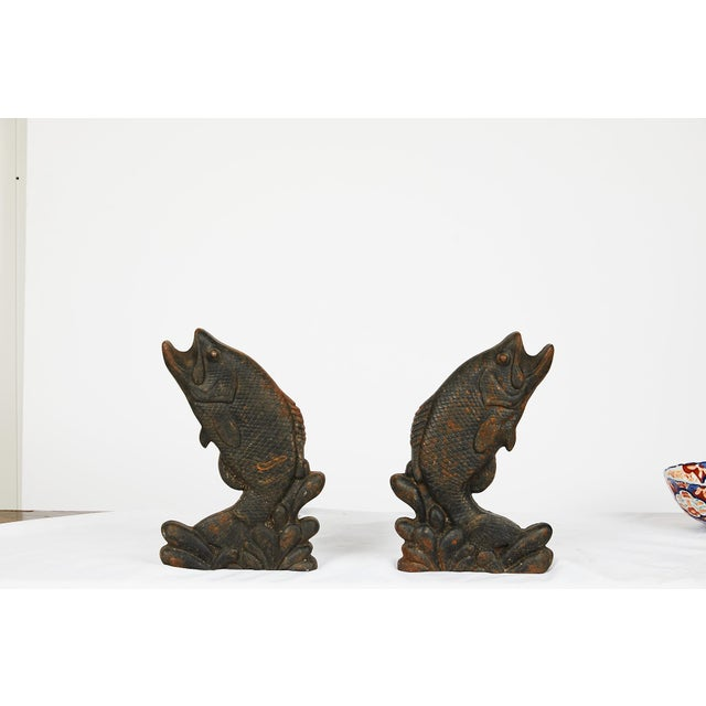 Charcoal Pair of Antique American Cast Iron Leaping Fish Andirons For Sale - Image 8 of 9