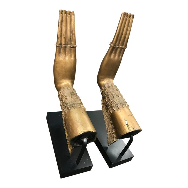 Contemporary Thai Hands Bronzed on Iron Stands - a Pair For Sale