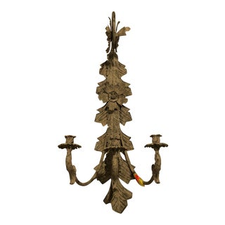 Global Views Ornate Wall Sconce With Patina For Sale