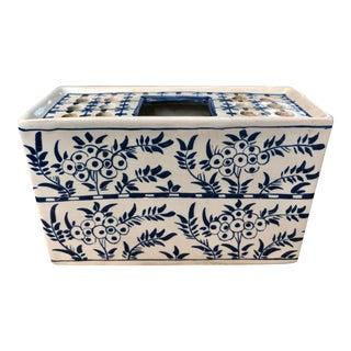 Delft Blue and White Floral Flower Brick Vase For Sale