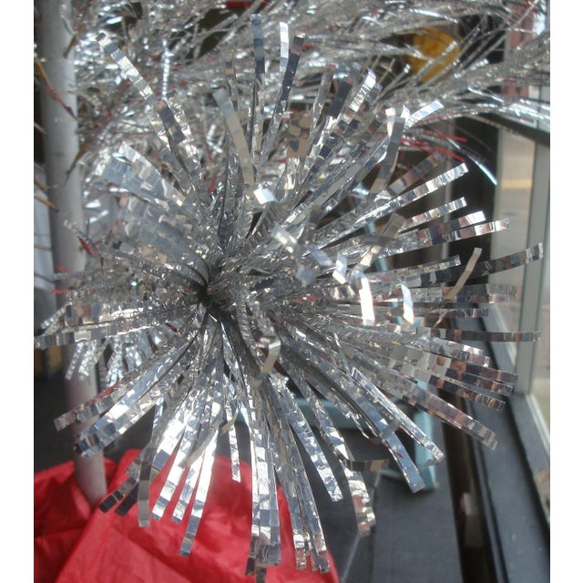 Fabulous vintage 1960s aluminum pom pom Christmas tree with the original carton, paper storage sleeves, even the two...