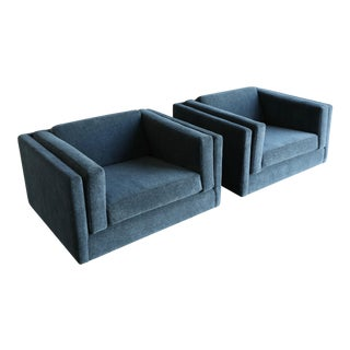 1960s Harvey Probber Grey Mohair Lounge Chairs - a Pair For Sale