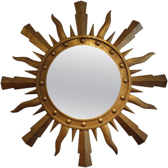 Gold 1960's Vintage Italian Gilt Iron Sunburst Mirror in the Style of Gilbert Poillerat For Sale - Image 8 of 9