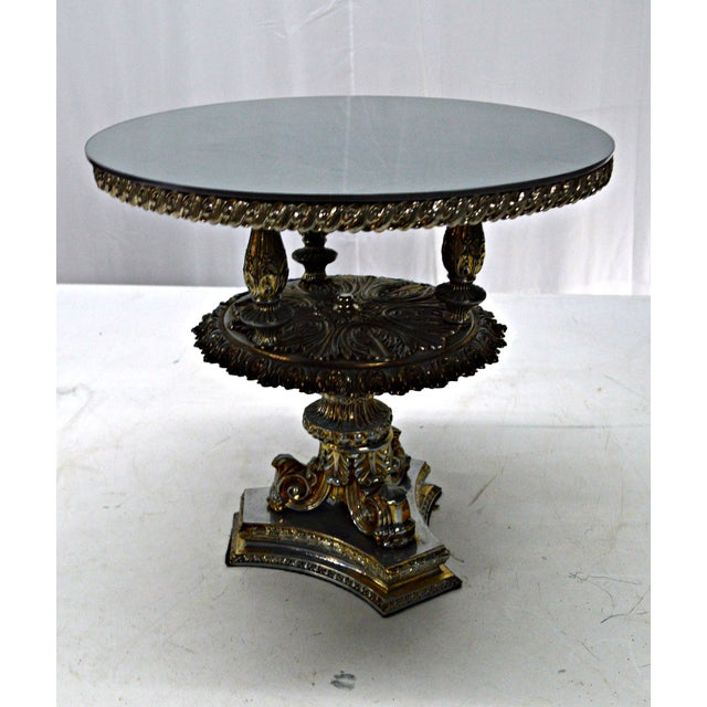 Baroque Gold Pewter Metal Cake Stand or Auxiliary Table For Sale - Image 3 of 8