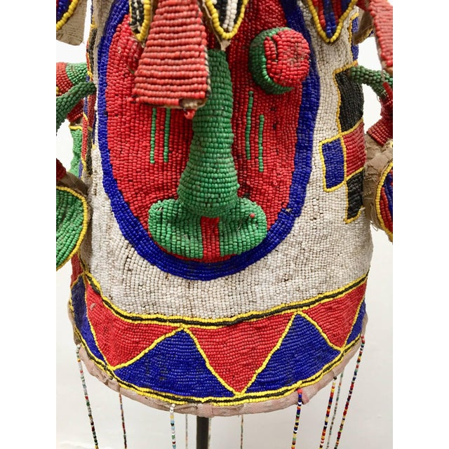 Yoruba Nigeria African Royal Beaded Headdress Crown on Stand For Sale In Los Angeles - Image 6 of 13