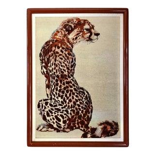 Vintage Needlepoint Jaguar Framed Textile Art For Sale