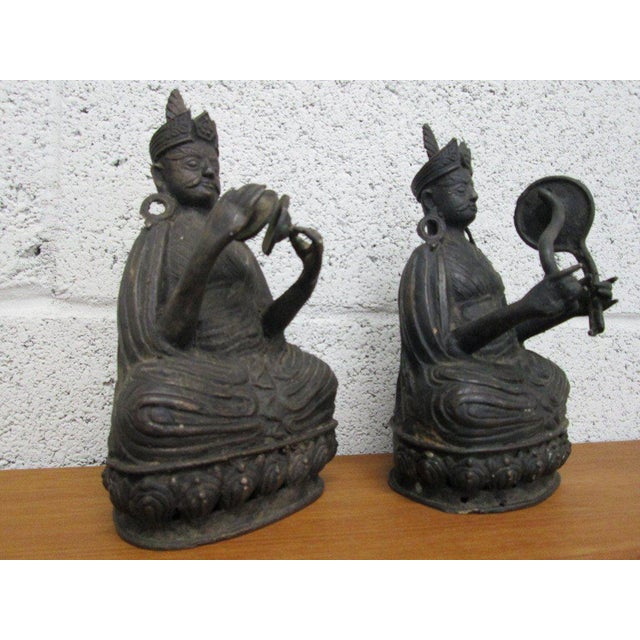 Pair Bronze Buddha Statues For Sale - Image 4 of 10