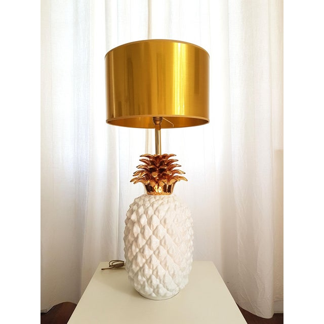 Large Ceramic Pineapple Lamp, Mid Century Modern, France by Maison Lancel For Sale - Image 11 of 11