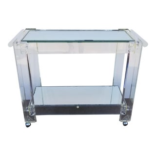 1970s Vintage Lucite Mirrored and Glass Bar Cart For Sale