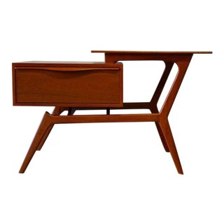 Mid Century Modern Teak Entryway Cabinet End Table For Sale