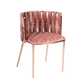 Modern Milano Rose Velvet and Gold Dining Chairs - Set of 6 Preview