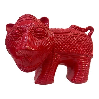 1960s Red Lion Pottery Figurine For Sale