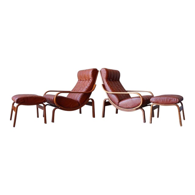 Leather Lounge Chairs With Ottomans For Sale