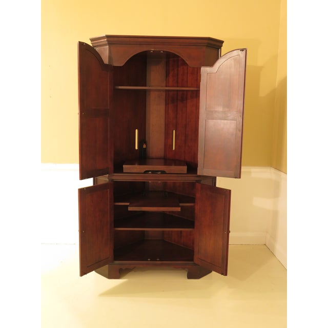 Raised Panel Door Solid Cherry Tv Corner Cabinet For Sale - Image 4 of 13