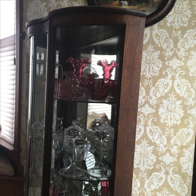 Traditional Antique Curved Glass Cabinet With Glass Shelves For Sale - Image 3 of 8