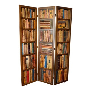 Leather Book Spines Room Divider Screen