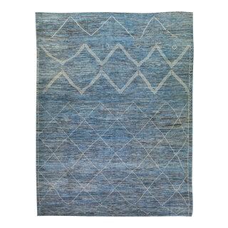 Modern Moroccan Style Blue Handmade Geometric Tribal Oversize Wool Rug For Sale