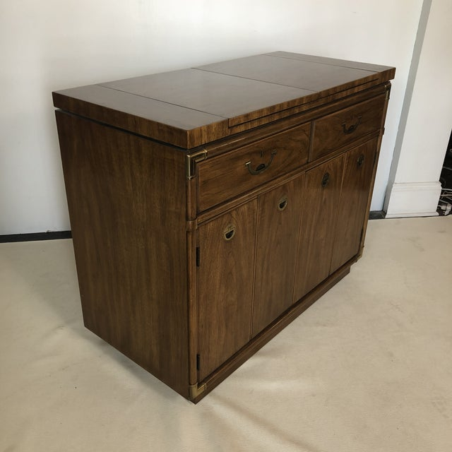 Drexel Drexel Campaign Fruitwood & Brass Bar Cabinet For Sale - Image 4 of 13