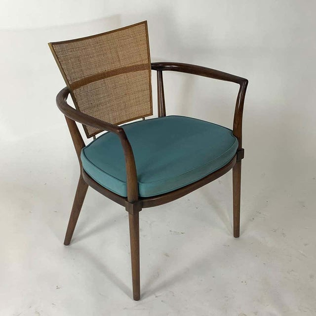 Pair of Sculptural Bert England Brass, Cane & Carved Walnut Arm or Dining Chairs For Sale In New York - Image 6 of 13