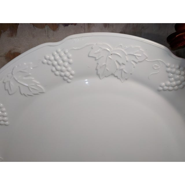 Indiana Glass Company Vintage Milk Glass Serving Plate/Pedestal Dessert Dish With Grapevine Pattern For Sale - Image 4 of 13