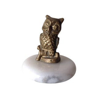 Brass Accent Owl on Round Marble Base For Sale