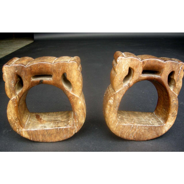 Antique Early 19th Century Colonial Carved Wooden Stirrups - Image 3 of 4
