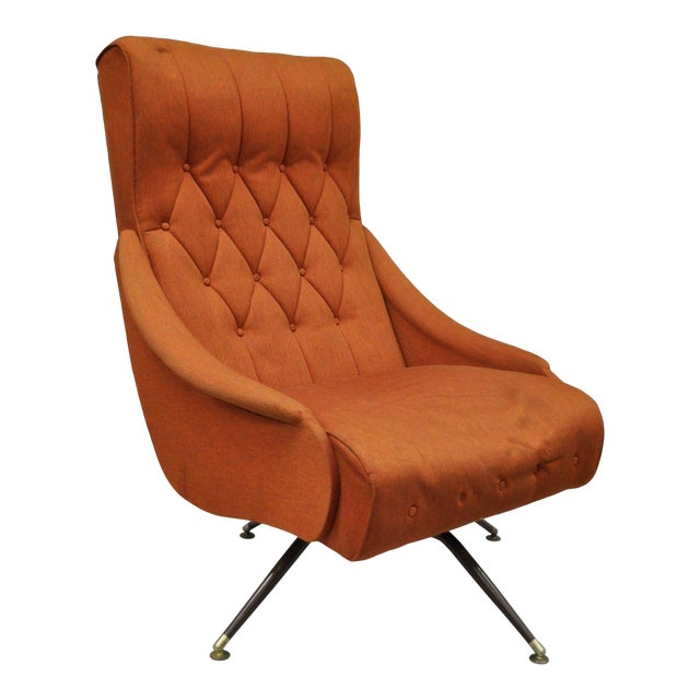 Vintage Mid Century Modern Mak Kraft Of Michigan Orange Fabric Swivel Lounge Chair