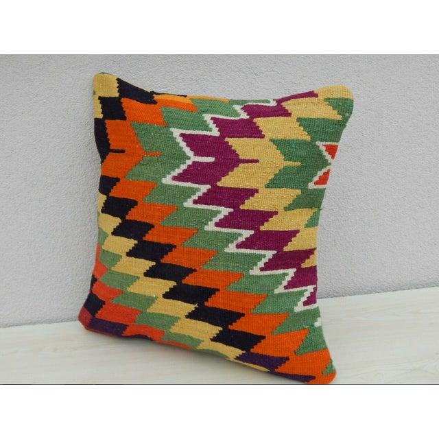 Boho Chic Turkish Handmade Kilim Pillow For Sale - Image 3 of 6
