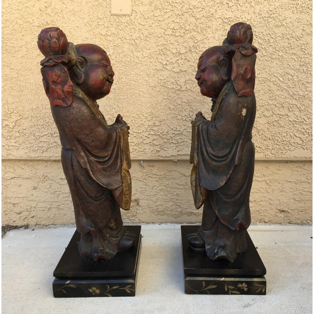 Red HeHe Erxian Twins Chinese Carved Wood Statues - A Pair For Sale - Image 8 of 11