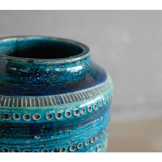 Aldo Londi for Bitossi Remini Blu Ceramic Vase For Sale - Image 5 of 8
