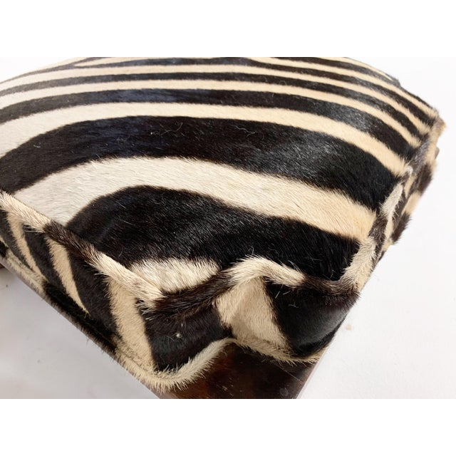 Late 20th Century Vintage Footstools Restored in Zebra Hide - Pair For Sale - Image 5 of 7