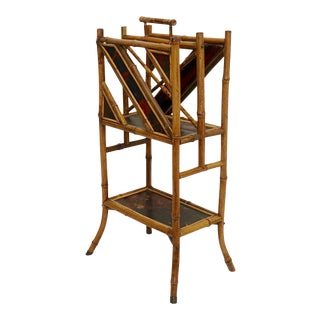 Bamboo Magazine Rack With Lacquer Panels, 19th Century For Sale
