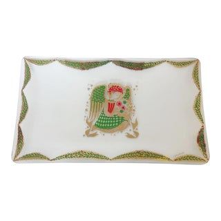 Mid Century Georges Briard Christmas Angel Glass Tray For Sale