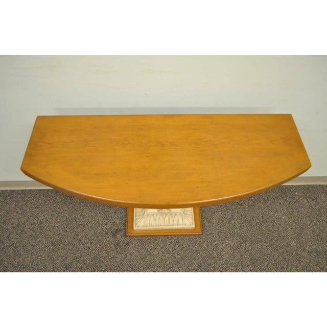 1940s Hollywood Regency Plaster Shell Form Console Hall Table For Sale In Philadelphia - Image 6 of 11