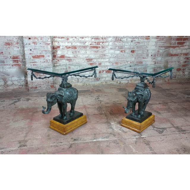 Maitland Smith Beautiful Bronze Elephant side Tables-A pair size 19 x 20 x 26""