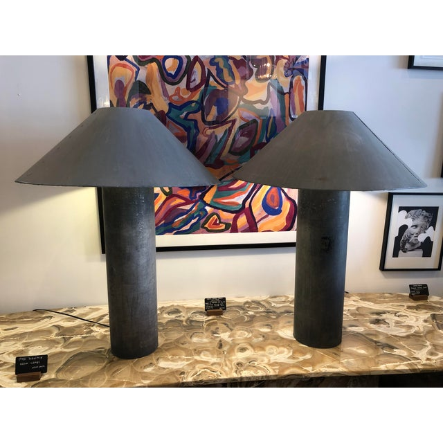 Pair of 1940s industrial concrete lamps made from plastic bag factory rollers used to turn the bags...handmade steel...
