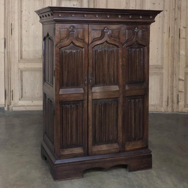 19th Century French Gothic Solid Walnut Armoire ~ Bonnetiere For Sale - Image 13 of 13