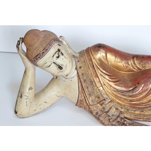 Asian Reclining Buddha / Draped in Golden Robes With a Jeweled Border and Headress For Sale - Image 3 of 13
