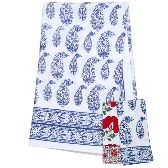 Contemporary Malabar Multi-Paisley Tablecloth, 4-seat table - Deep Blue For Sale - Image 3 of 4
