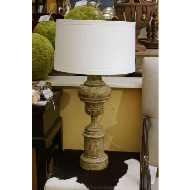 Greiged Carved Baluster Table Lamp - Image 5 of 8
