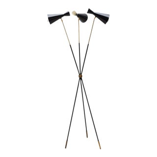 Italian Tripod Floor Lamp in Brass and Black Enamel, 1950s For Sale