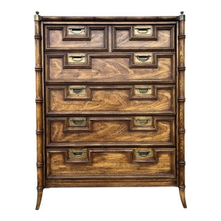 Stanley Hollywood Regency Faux Bamboo Tall Chest For Sale