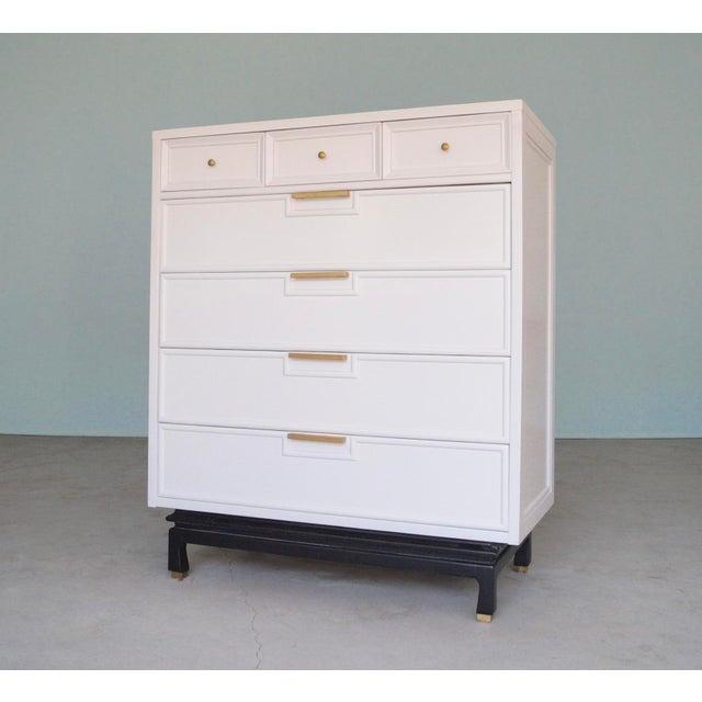 american of martinsville mid century modern white highboy dresser chairish. Black Bedroom Furniture Sets. Home Design Ideas