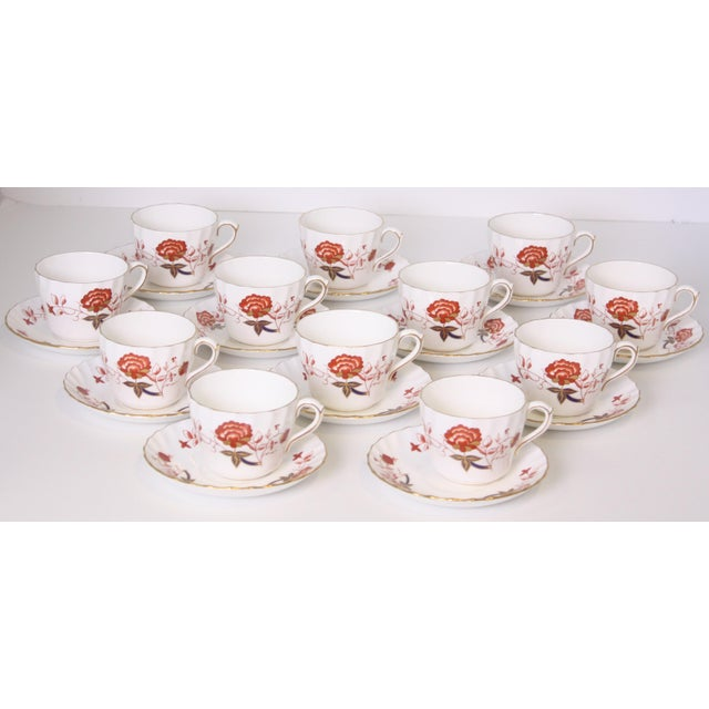 Vintage Royal Crown Derby Bali Pattern Cups and Saucers - Set of 12 For Sale - Image 10 of 10