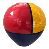 Image of Ceramic Vase Fred Stodder Signed Contemporary Red Blue Yellow Black 8 Inch For Sale