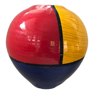 Ceramic Vase Fred Stodder Signed Contemporary Red Blue Yellow Black 8 Inch For Sale